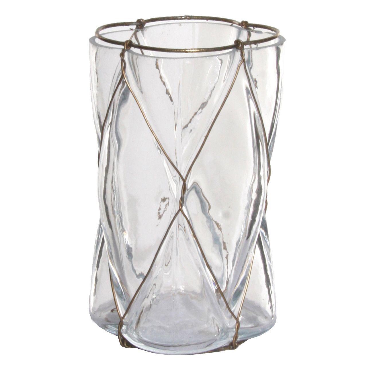 LYSLYKT/VASE GLASS H13,5CM