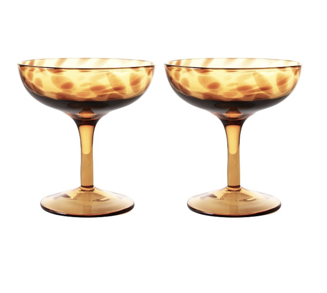 TORTOISE CHAMPAGNE GLASS SETT AV 2