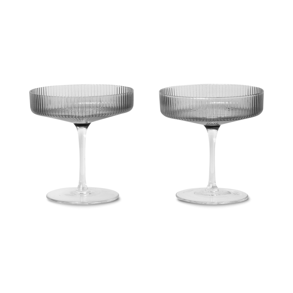 RIPPLE CHAMPAGNE SAUCER SMOKED 2PC
