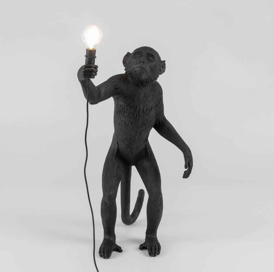MONKEY LAMP/STANDING BLACK OUTDOOR