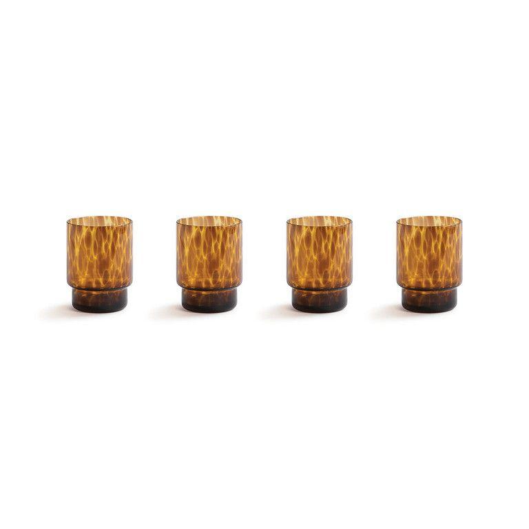 GLASS TORTOISE BRUN SETT AV 4